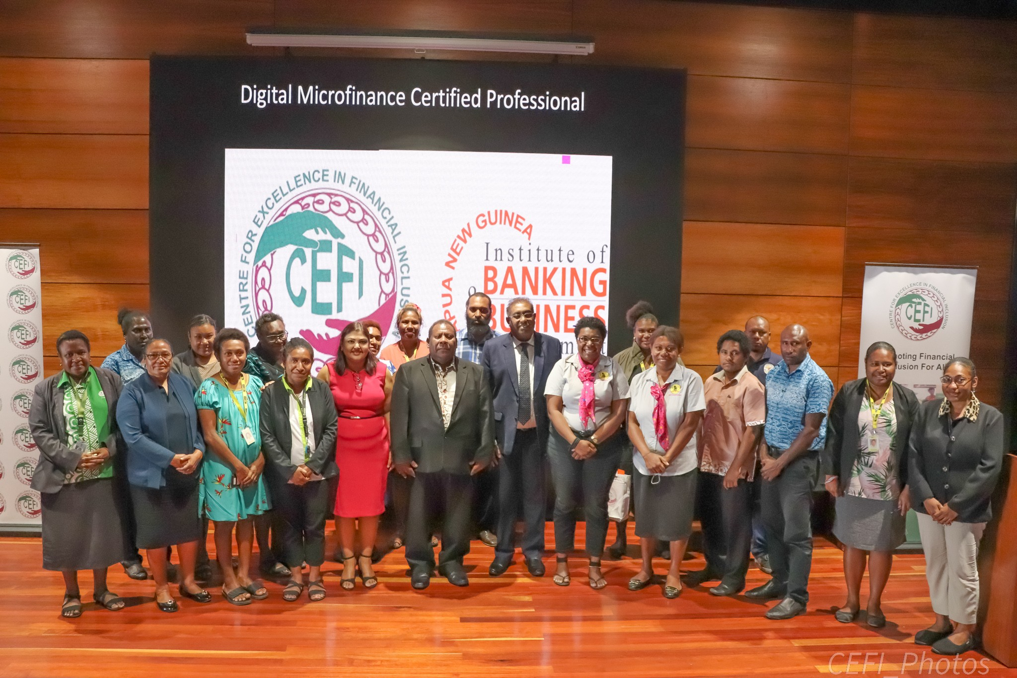 The 23 course participants with Assistant Governor Bank of PNG Ellison Pidik (standing 5th-front row), CEFI Executive Director Saliya Ranasinghe (standing 6th front row) and IBBM Dean, Dr Sweta Sud (4th front row).